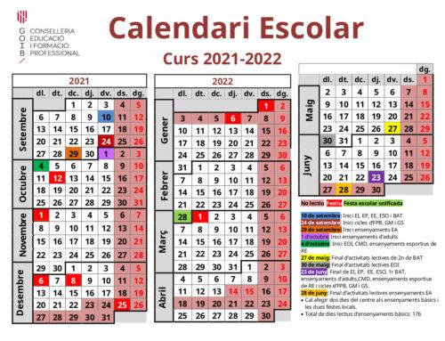 Calendari escolar curs 2021-22